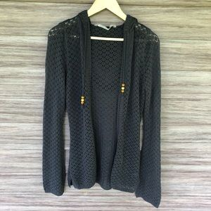 ATHLETA Gray Open Knit hooded cardigan